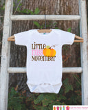 Little Miss November Onepiece Bodysuit - Take Home Outfit For Newborn Baby Girls - Fall Pumpkin Infant Going Home Hospital Onepiece - Get The Party Started