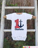 First Birthday Nautical Outfit - Personalized Bodysuit For Boy's 1st Birthday Party - Red and Navy Anchor Birthday Party Bodysuit Shirt - Get The Party Started