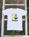 First Birthday Nautical Outfit - Personalized Bodysuit For Boy's 1st Birthday Party - Yellow and Navy Anchor Birthday Party Bodysuit Shirt - Get The Party Started