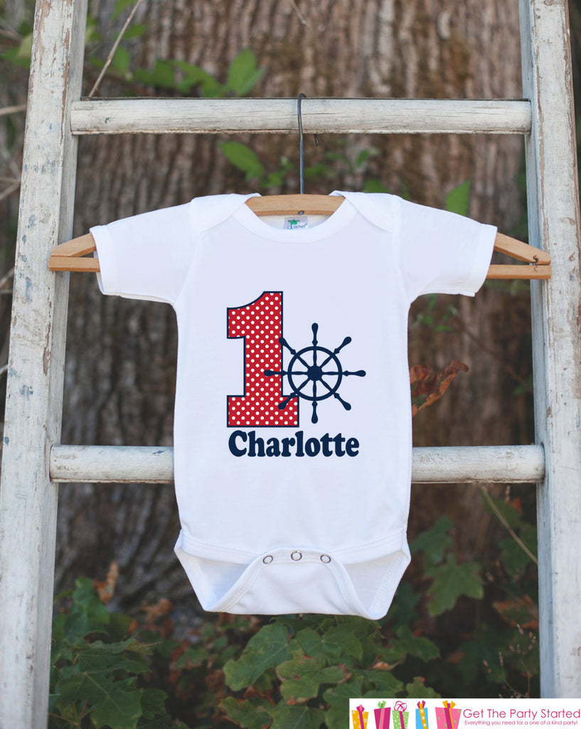 First Birthday Nautical Outfit - Personalized Bodysuit For Boy's 1st Birthday Party - Red and Navy Boat Wheel Birthday Party Bodysuit Shirt - Get The Party Started