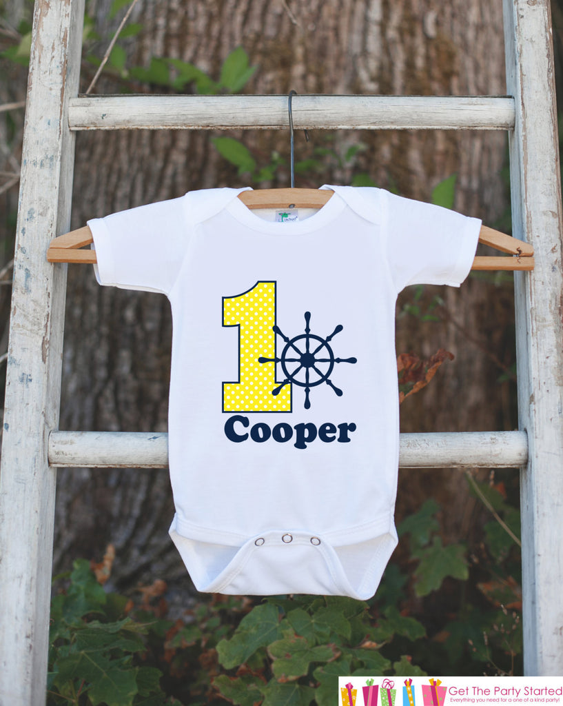 First Birthday Nautical Outfit - Personalized Bodysuit For Boy's 1st Birthday Party - Yellow and Navy Boat Wheel Birthday Party Bodysuit - Get The Party Started