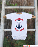 Captain Adorable Outfit - Novelty Baby Shower Gift - Humerous Baby Onepiece - Red and Navy Blue Anchor Nautical Bodysuit - Funny Onepiece - Get The Party Started