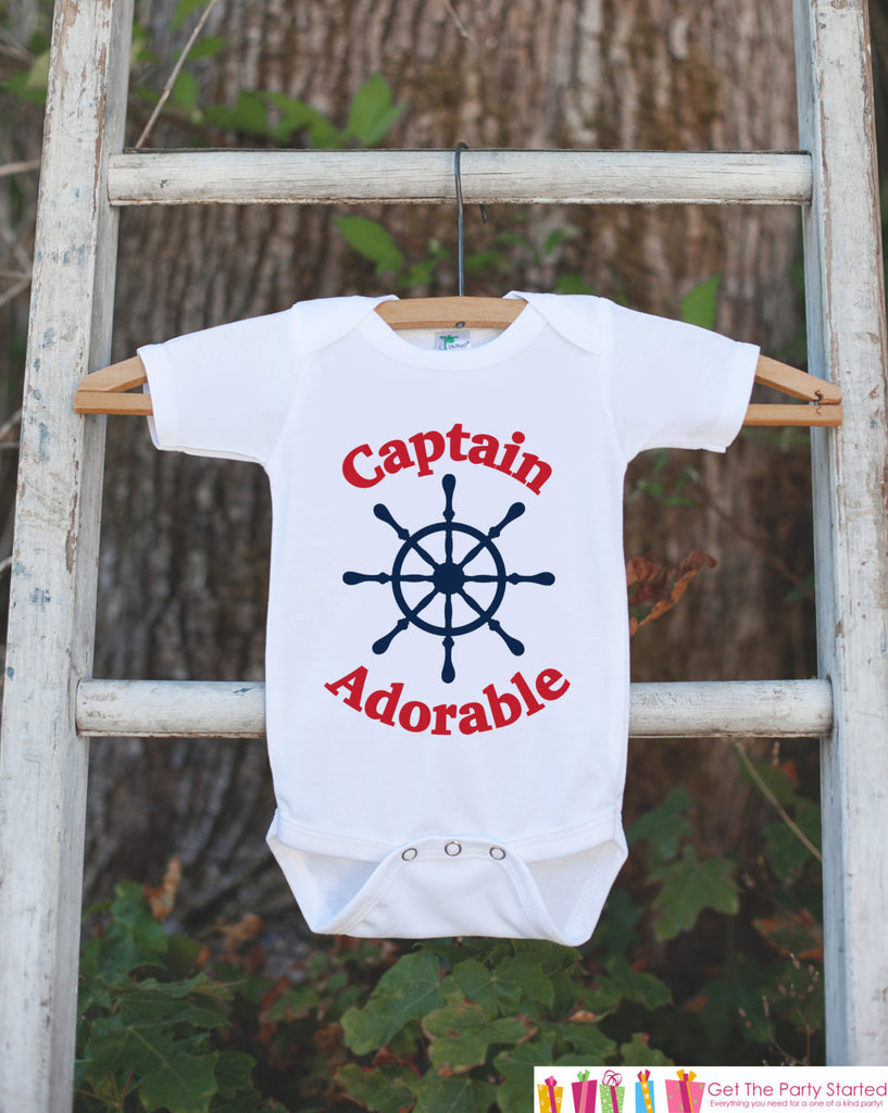Novelty Baby Shower Gift - Captain Adorable Outfit - Humerous Baby Onepiece - Red and Navy Blue Nautical Bodysuit - Funny Onepiece for Boys - Get The Party Started