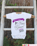 My First New Year Outfit - Personalized New Years Eve Onepiece - Baby's First Holiday Personalized with Name - Newborn Baby Girl Onepiece - Get The Party Started