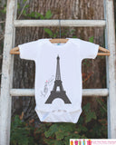 Eiffel Tower l'amour Outfit - Novelty Baby Shower Gift - French Eiffel Tower Love Outfit - Paris Onepiece Bodysuit - Infant Newborn Clothing - Get The Party Started
