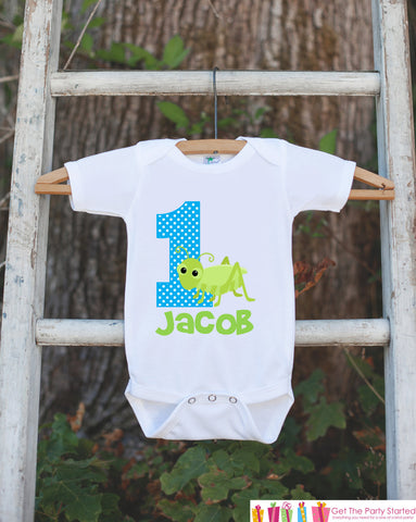 First Birthday Bug Outfit - Personalized Bugs Bodysuit For Boy's 1st Birthday Party - Cricut Insect Onepiece Birthday Shirt w/ Name & Age