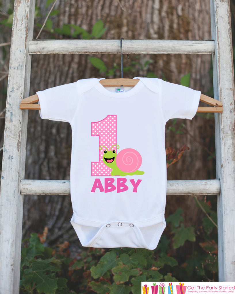 First Birthday Bug Outfit - Personalized Bugs Bodysuit For Girl's 1st Birthday Party - Snail Insect Onepiece Birthday Shirt w/ Name & Age