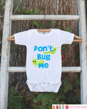 Funny Baby Boy Outfit - Novelty Baby Shower Gift - Humerous Don't Bug Me Baby Onepiece - Blue and Green Bugs Bodysuit - Funny Kids Shirt - Get The Party Started