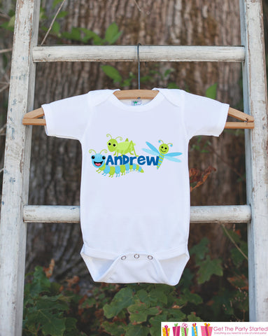 Bug Outfit - Personalized Bugs Bodysuit or t-shirt For Boy's 1st Birthday Party - Custom Insect Bodysuit Birthday Shirt with Child's Name - Get The Party Started