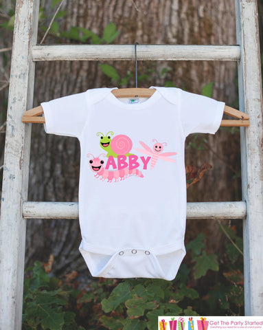 Bug Outfit - Personalized Bugs Bodysuit or t-shirt For Girl's 1st Birthday Party - Custom Insect Onepiece Birthday Shirt with Child's Name
