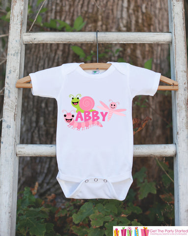 Bug Outfit - Personalized Bugs Bodysuit or t-shirt For Girl's 1st Birthday Party - Custom Insect Bodysuit Birthday Shirt with Child's Name - Get The Party Started