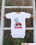 First Birthday Car Outfit - Personalized Cars Bodysuit For Boy's 1st Birthday Party - Transportation Bodysuit Birthday Shirt w/ Name & Age - Get The Party Started