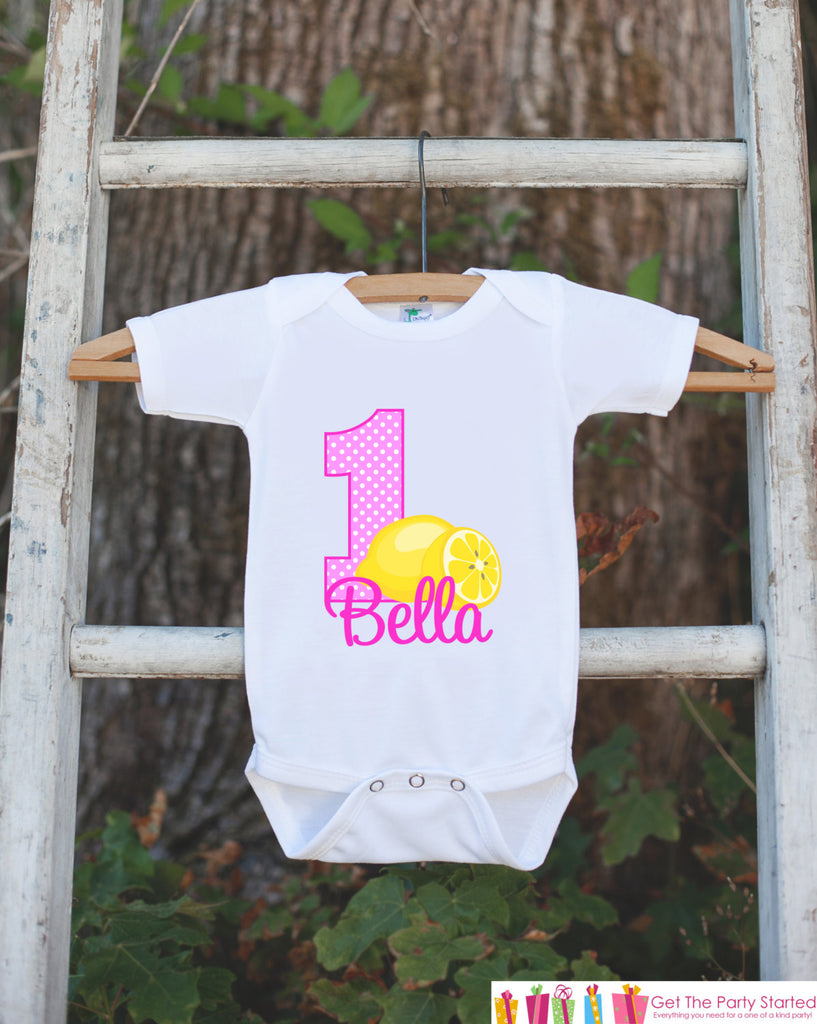 First Birthday Pink Lemonade Outfit - Personalized Lemonade Bodysuit For Girl's 1st Birthday Party - Lemon Onepiece Birthday Shirt with Name
