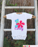 Hawaiian Luau First Birthday Outfit - Personalized Luau Bodysuit For Girl's 1st Birthday Party - Hawaiian Flower Bodysuit Birthday Shirt - Get The Party Started