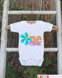 Hawaiian Luau First Birthday Outfit - Personalized Luau Bodysuit For Girl's 1st Birthday Party - Hawaiian Flower ONE Birthday Bodysuit - Get The Party Started