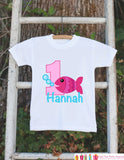 Fish Birthday Outfit - Personalized Bodysuit For Girl's 1st Birthday Party - First Birthday Outfit With Name & Age - Pink Goldfish Onepiece
