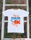 "Funny Fish Onepiece Outfit - Personalized ""I'm a Catch"" Bodysuit for Newborn Baby Boys - Infant Outfit With Name and Orange Goldfish - Get The Party Started"