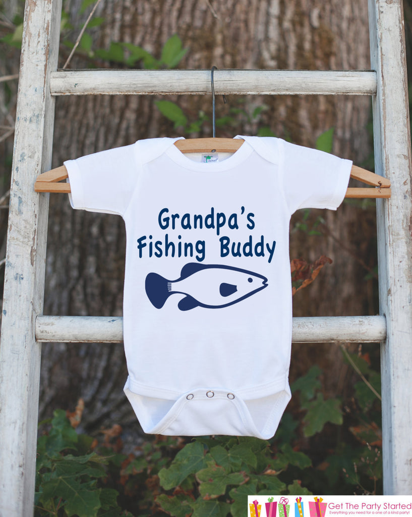 Grandpa's Fishing Buddy Onepiece Outfit - Father's Day Gift - Bodysuit for Newborn Baby Boys - Infant Outfit - Grandpa's Buddy Shirt w/ Fish - Get The Party Started