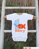 Fish Birthday Outfit - Personalized Bodysuit For Boy's 1st Birthday Party - First Birthday Onepiece With Name & Age - Orange Gold Fish