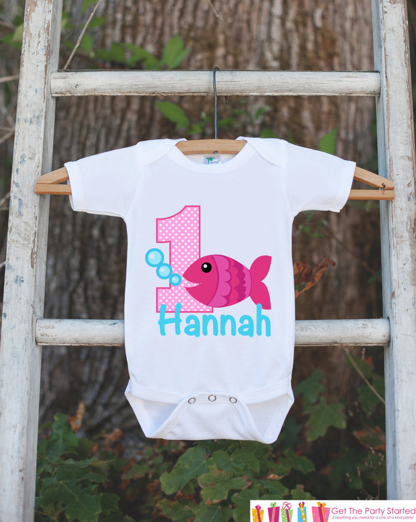 Fish Birthday Outfit - Personalized Bodysuit For Girl's 1st Birthday Party - First Birthday Outfit With Name & Age - Pink Goldfish - Get The Party Started