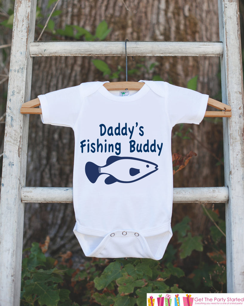 Daddy's Fishing Buddy Onepiece Outfit - Father's Day Gift - Bodysuit for Newborn Baby Boys - Infant Outfit - Daddy's Buddy Shirt with Fish - Get The Party Started