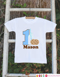 First Birthday Milk & Cookies Bodysuit - Personalized Shirt For Boy's 1st Birthday Party - Cookie Onepiece Birthday Outfit w/ Name and Age - Get The Party Started