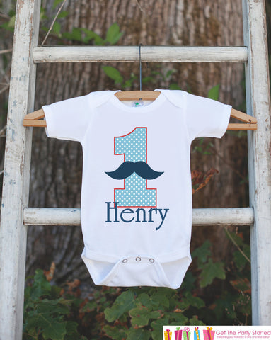 First Birthday Mustache Bodysuit - Personalized Shirt For Boy's 1st Birthday Party - Mustache Bash Onepiece Birthday Outfit w/ Name and Age