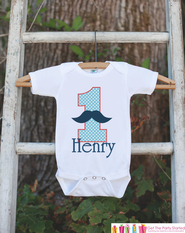 First Birthday Mustache Bodysuit - Personalized Shirt For Boy's 1st Birthday Party - Mustache Bash Onepiece Birthday Outfit w/ Name and Age - Get The Party Started