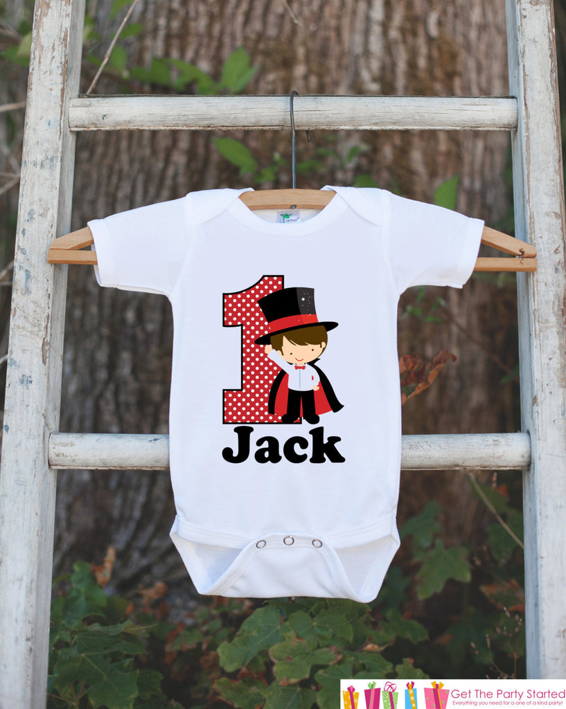 First Birthday Magician Bodysuit - Personalized Bodysuit For Boy's 1st Birthday Party - Magic Onepiece Birthday Outfit With Name and Age - Get The Party Started