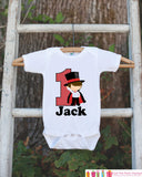 First Birthday Magician Bodysuit - Personalized Bodysuit For Boy's 1st Birthday Party - Magic Onepiece Birthday Outfit With Name and Age