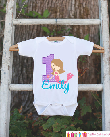 First Birthday Mermaid Bodysuit - Personalized Bodysuit For Girl's 1st Birthday Party - Mermaid Onepiece Birthday Outfit With Name and Age - Get The Party Started