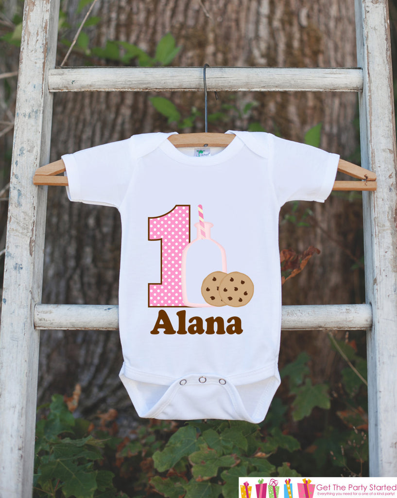 First Birthday Milk & Cookies Bodysuit - Personalized Shirt For Girl's 1st Birthday Party - Cookie Onepiece Birthday Outfit w/ Name and Age - Get The Party Started