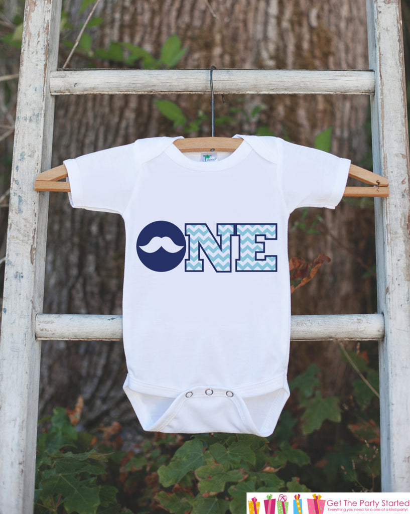 Mustache Bodysuit for First Birthday Party- ONE Shirt For Boy's 1st Birthday Party - Little Man Mustache Bash Onepiece Birthday Outfit - Get The Party Started