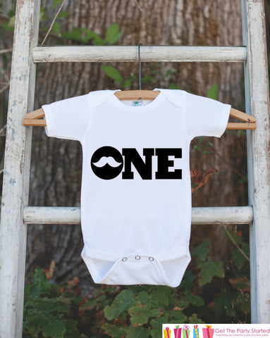Mustache Bodysuit for 1st Birthday Party - ONE Shirt For Boy's First Birthday Party - Little Man Mustache Bash Onepiece Birthday Outfit - Get The Party Started