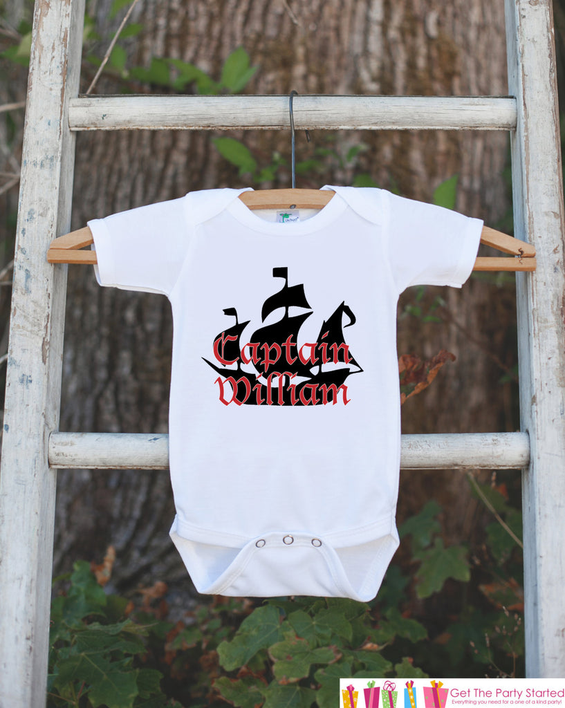 Pirate Ship Bodysuit - Personalized Pirate Shirt For Boy's Birthday Party - Custom Red & Black Captain Onepiece Birthday Outfit - Nautical