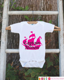 Pirate Ship Bodysuit - Personalized Pirate Shirt For Girl's Birthday Party - Custom Hot Pink & Black Captain Onepiece Birthday Outfit - Get The Party Started