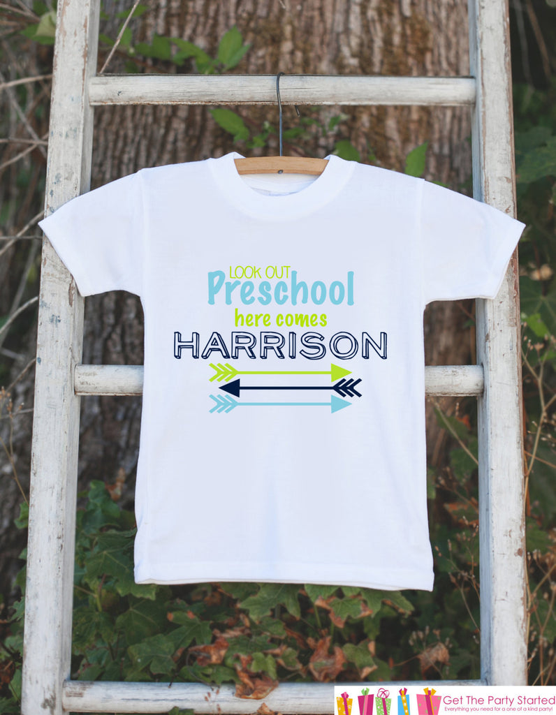 First Day of Preschool Outfit - Personalized School Shirt - Boy First Day of School Onepiece - Look Out Preschool Here I Come for Baby Boys - Get The Party Started