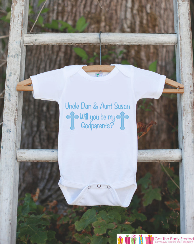 Will You Be My Godparents Outfit - Infant Baby Boy Bodysuit - Personalized Godparents Onepiece - Godchild & Godparent Keepsake w/ Blue Cross - Get The Party Started