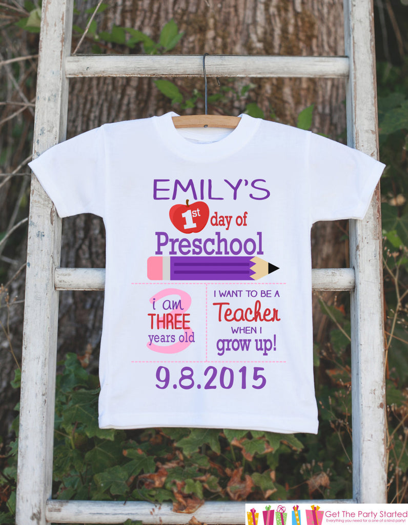 First Day of Preschool Outfit - Personalized Preschool Stats Shirt - Girls Stats Shirt - My First Day of Preschool Outfit for Baby Girls - Get The Party Started