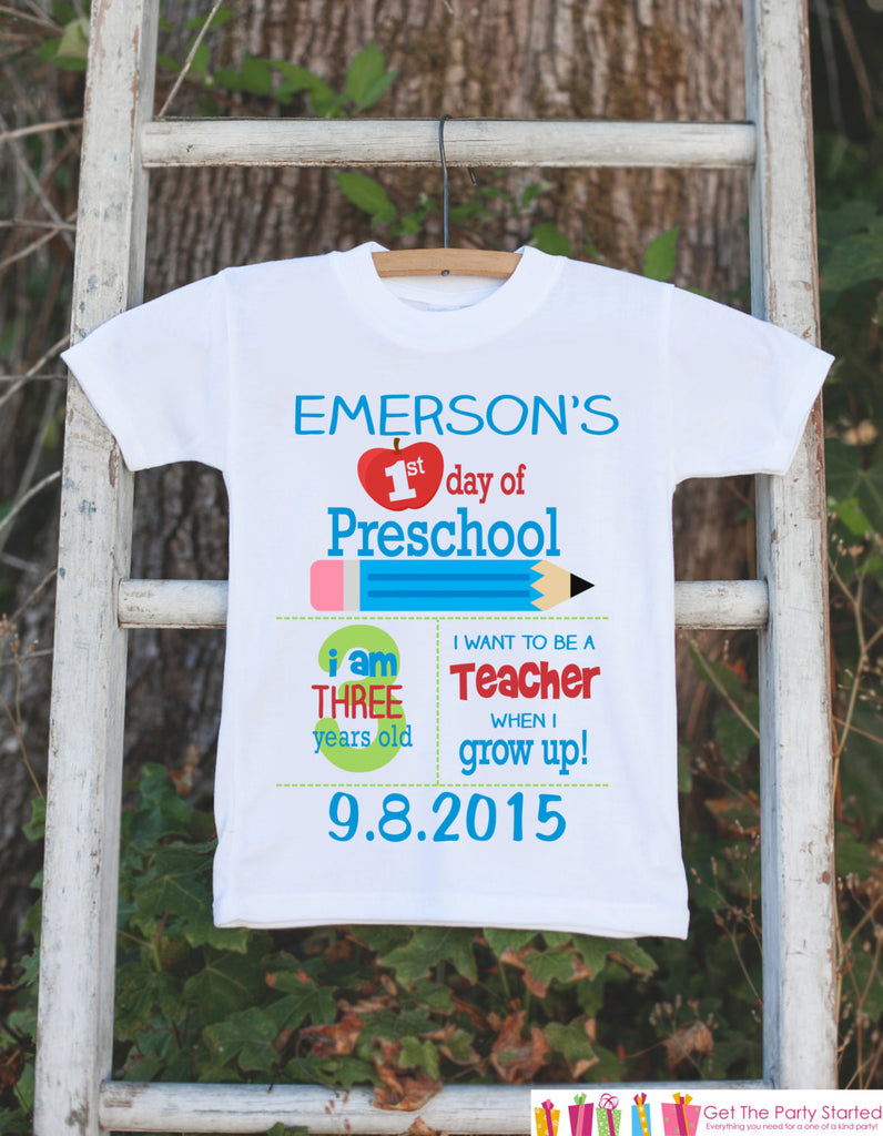 First Day of Preschool Outfit - Personalized Preschool Stats Shirt - Boys Stats Shirt - My First Day of Preschool Outfit for Baby Boys - Get The Party Started