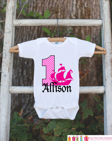 First Birthday Pirate Ship Bodysuit - Personalized Outfit For Girl's 1st Birthday Party - Pirate Onepiece Birthday Shirt - Pink & Black