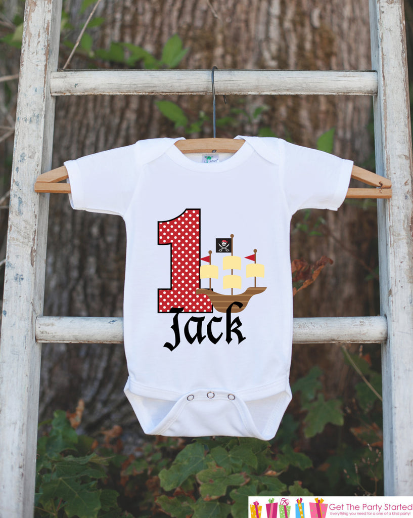 First Birthday Pirate Ship Bodysuit - Personalized Outfit For Boys 1st Birthday Party - Pirate Captain Onepiece Birthday Shirt - Red & Black - Get The Party Started
