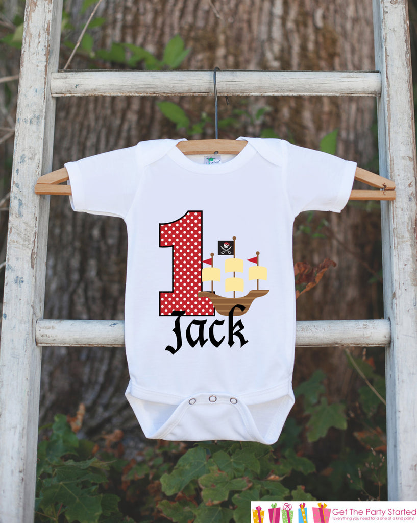 First Birthday Pirate Ship Bodysuit - Personalized Outfit For Boys 1st Birthday Party - Pirate Captain Onepiece Birthday Shirt - Red & Black
