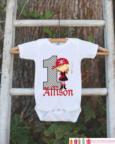 First Birthday Pirate Girl Bodysuit - Personalized Bodysuit For Girl's 1st Birthday Party - Pirate Onepiece Birthday Outfit - Red & Black