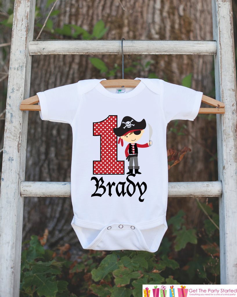 First Birthday Pirate Boy Bodysuit - Personalized Outfit For Boy's 1st Birthday Party - Pirate Onepiece Birthday Shirt - Red & Black - Get The Party Started