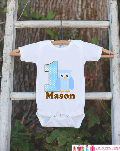 First Birthday Owl Bodysuit - Personalized Bodysuit For Boy's 1st Birthday Party - Brown & Blue Owl Onepiece Birthday Outfit Look Whoo's One - Get The Party Started