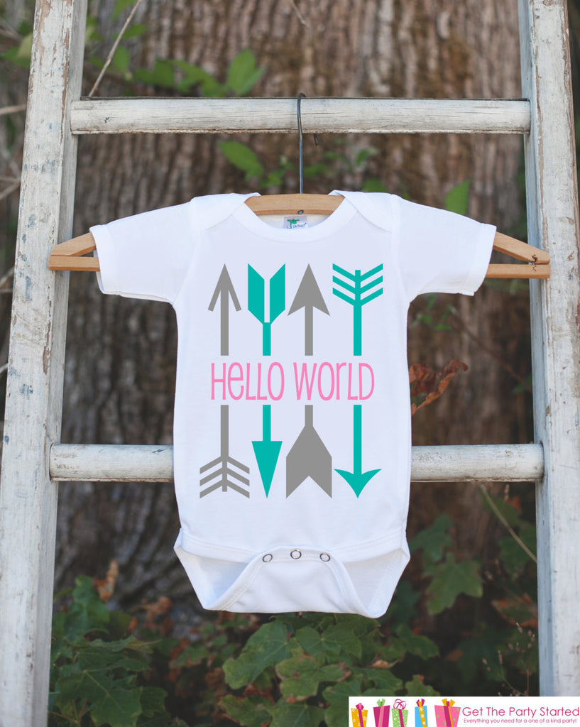 Hello World Onepiece - Hipster Arrow Bodysuit for Newborn Baby Girls - Going Home Outfit - Coming Home Onepiece - Pink Girl Hospital Outfit - Get The Party Started