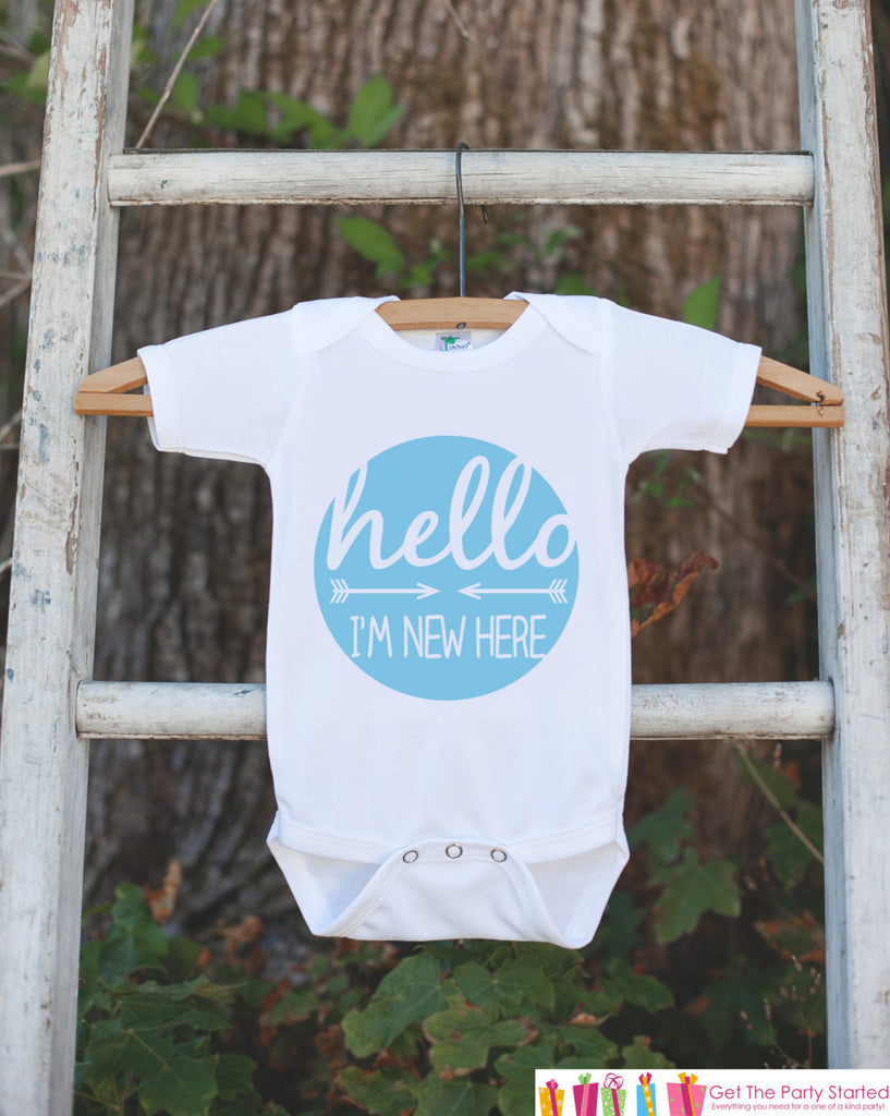 Hello I'm New Here Onepiece - Hipster Arrow Bodysuit for Newborn Baby Boys - Going Home Outfit - Coming Home Onepiece - Boy Hospital Outfit - Get The Party Started