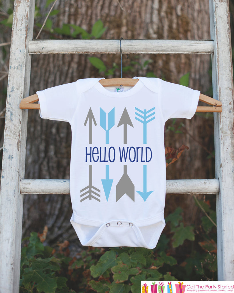 Hello World Onepiece - Hipster Arrow Bodysuit for Newborn Baby Boys - Going Home Outfit - Coming Home Onepiece - Blue Boy Hospital Outfit - Get The Party Started
