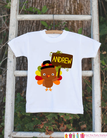 Thanksgiving Shirt - Baby Turkey Onepiece - Fall Outfit for Baby Boy or Baby Girl - Personalized Turkey Shirt with Name - Novelty Shirt - Get The Party Started